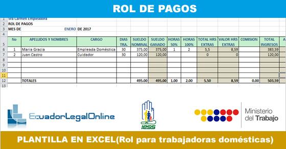 Rol de Pagos para Empleadas domésticas - EcuadorLegalOnline