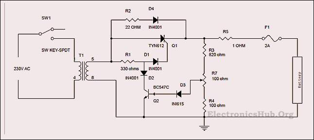 scr battery charger circuit diagram