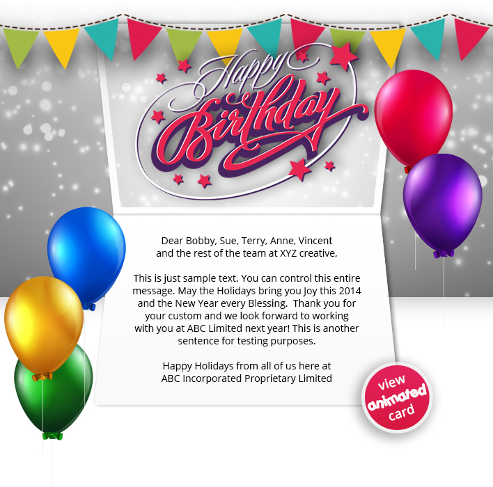 Corporate Birthday eCards Employees  Clients Happy Birthday Cards - sample happy birthday email