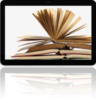 Virtual library book inside computer - internet ebook club