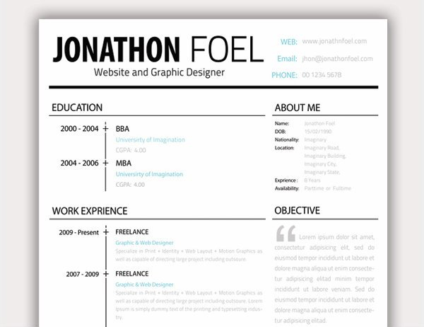 20+ Free Resume Design Templates for Web Designers Elegant - resume font type