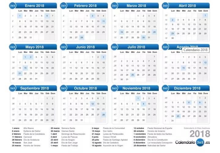 11 plantillas de calendarios para 2018