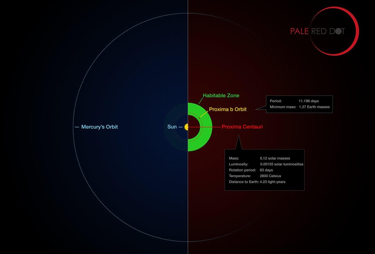 Proxima Centauri sistemi ile Güneş sistemimizin karşılaştırılması. Proxima'nın yaşam alanı yeşil ile taranmış. (Telif: ESO/M. Kornmesser/G. Coleman)