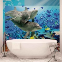 Dolphins Tropical Fish Wall Paper Mural | Buy at EuroPosters