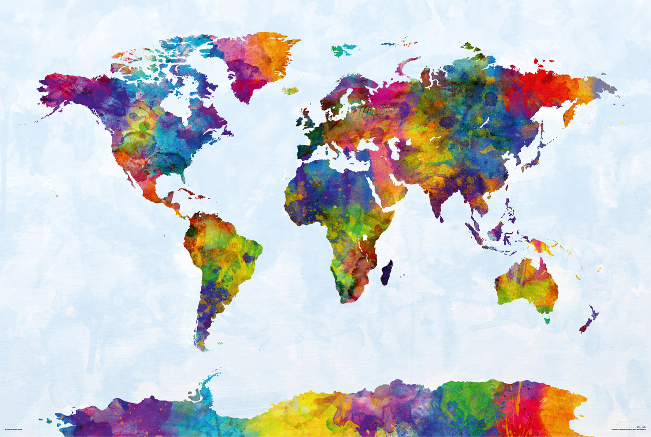 Poster Of The World Michael Tompsett Watercolor World Map Poster