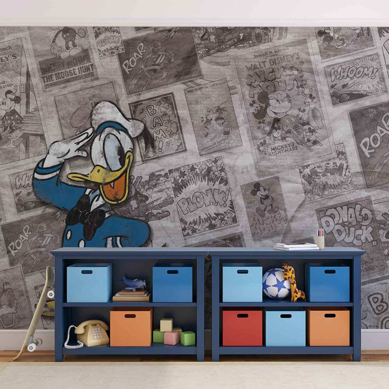 Comic Tapete Disney Donal Duck Newsprint Vintage Wall Paper Mural | Buy