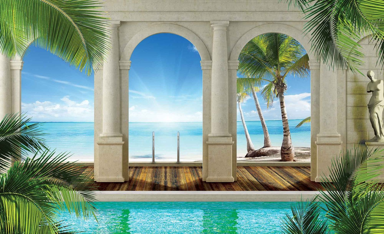 3d Landescape Mural Wallpaper Tropical Beach Wall Paper Mural Buy At Europosters