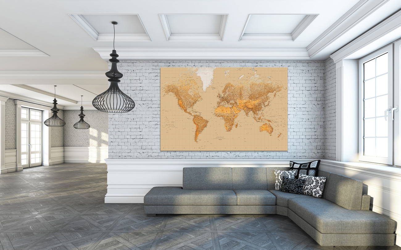 World Map Antique Style Wall Mural Buy At Abposters Com