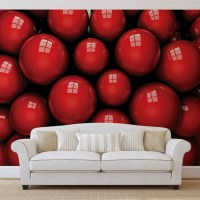 Abstract Modern Red Balls Wall Paper Mural | Buy at ...