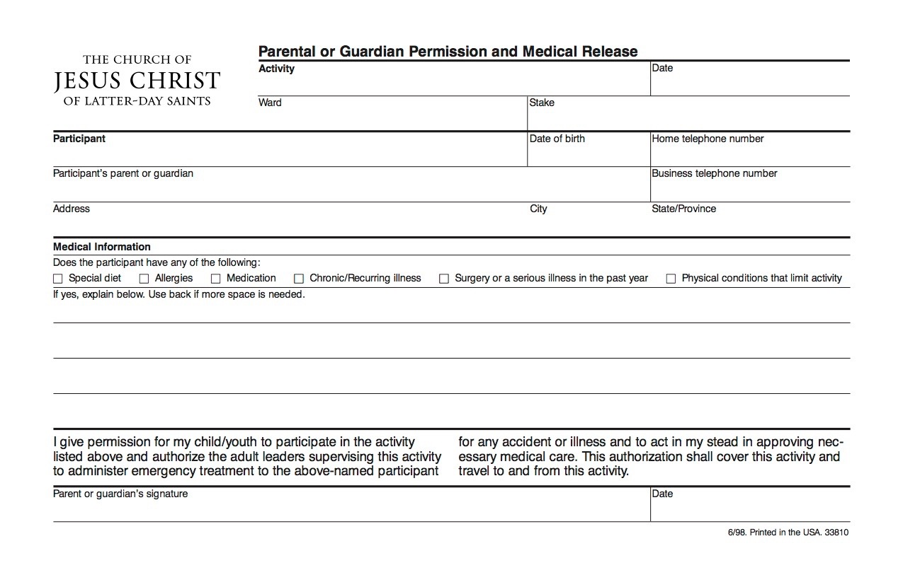 Parental Release Form Youth Church – Parental Release Form