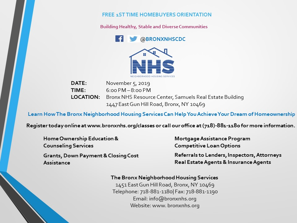 The Bronx NHS First Time Home Buyer Orientation (FREE) Tickets, Tue