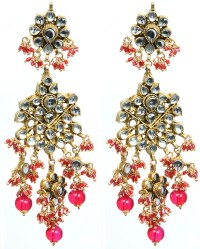 Fuchsia Red Kundan Beaded Earrings