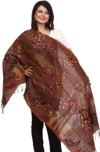 Brown Jamawar Stole with Embroidered Paisleys