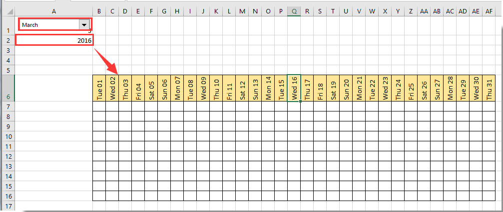 create custom calendar in excel