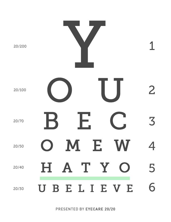 Seeing Is Believing Inspirational Eye Exam Design - eye chart template
