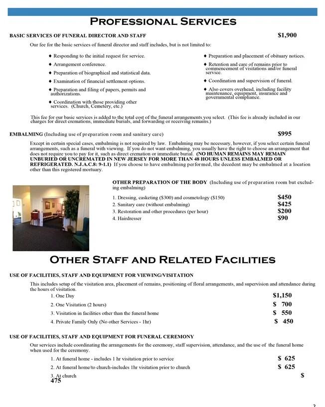 Price List Bongarzone Funeral Home - Tinton Falls, NJ