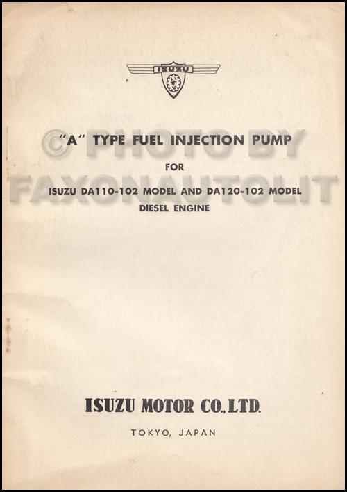 1960-1965 Isuzu Diesel Fuel Injection Training Manual Original DA110