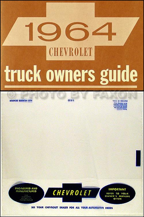 1964 Chevrolet Pickup  Truck Owner\u0027s Manual Package Reprint
