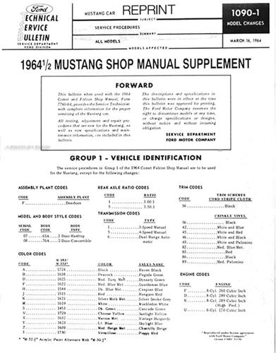 1964 12 ford mustang wiring diagram manual reprint
