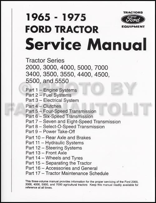 1965-1975 Ford Tractor Repair Shop Manual Reprint 2000 3000 4000