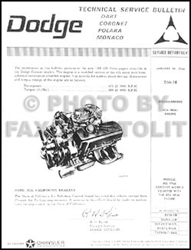 1966 Dodge Hemi Engine Repair Shop Manual Reprint Supplement