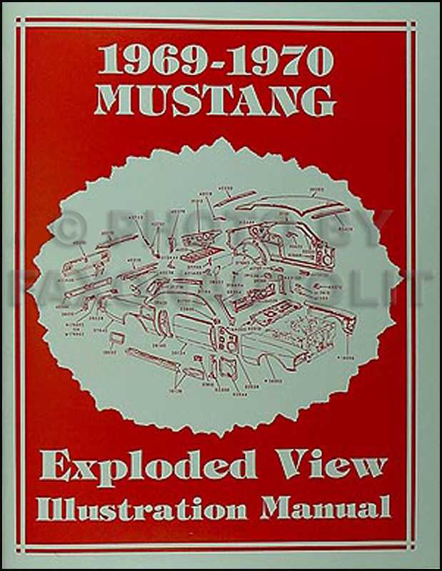 1969-1970 Ford Mustang Exploded View Parts Illustration Manual Reprint