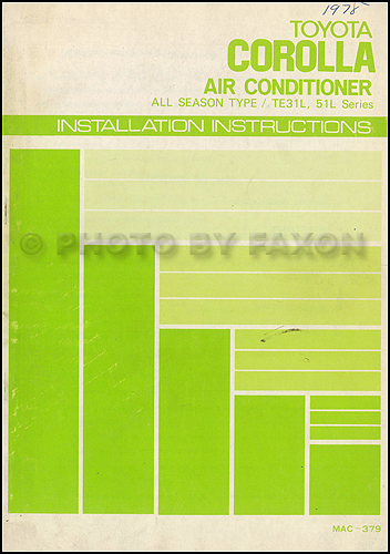 1977-1979 Toyota Corolla Air Conditioner Installation Manual Original