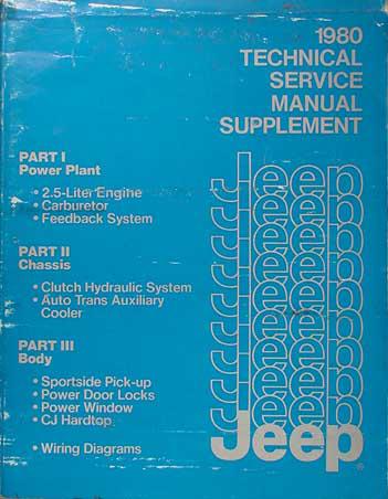 1980 Jeep Repair Shop Manual Supplement Original