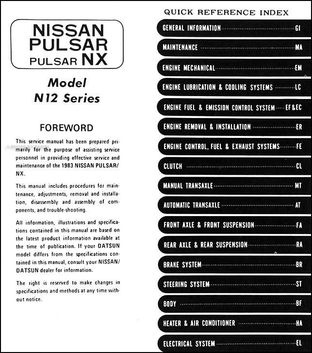 DOC ➤ Diagram 1989 Nissan Pulsar Nx Wiring Diagram Manual Original