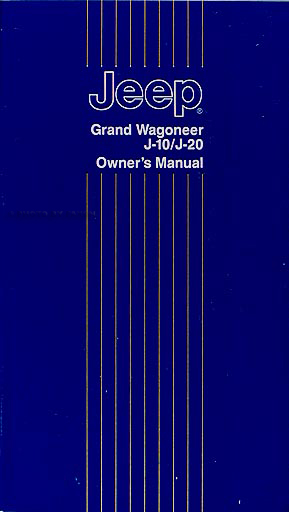 1988 Jeep Grand Wagoneer  Truck Owner\u0027s Manual Original