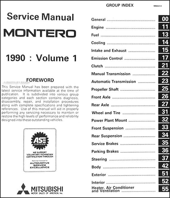1991 mitsubishi montero wiring diagram