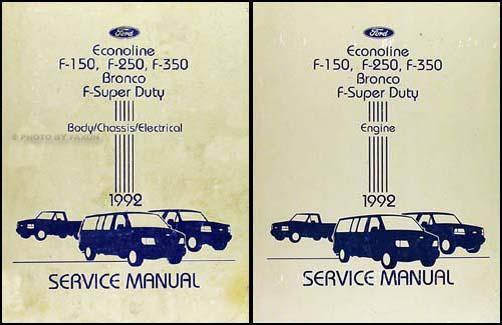 1992 Ford Truck and Van Repair Shop Manual Econoline F150 F250 F350