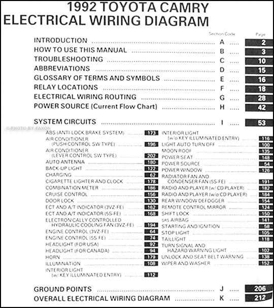 1992 toyota camry electrical wiring diagram guide handbook