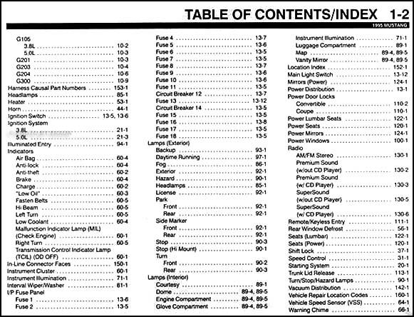 1995 ford mustang electrical vacuum troubleshooting manual original