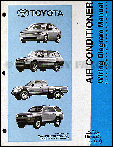 1999 Toyota A/C Wiring Diagram Manual Original Corolla Rav4 Tacoma