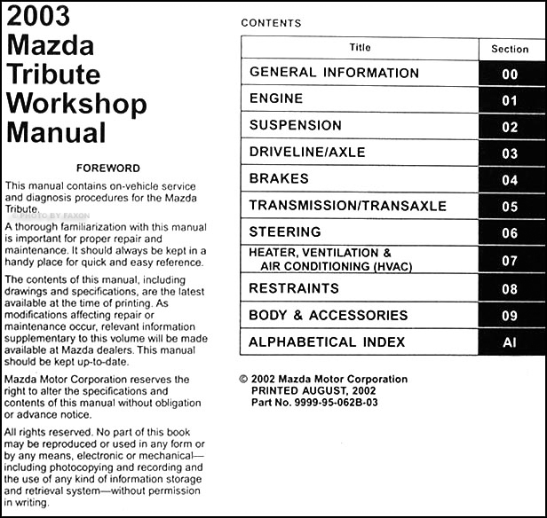 2003 Mazda Tribute Wiring Harness - Wwwcaseistore \u2022