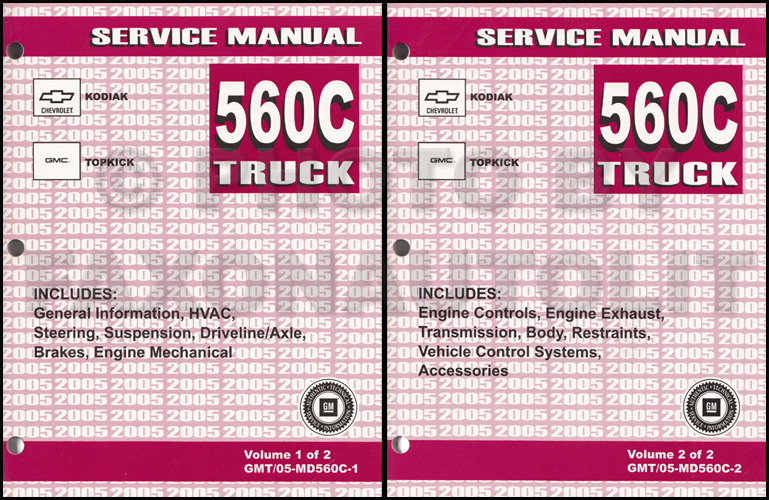 2005 GMC Topkick  Chevy Kodiak Repair Shop Manual Original 2 Volume