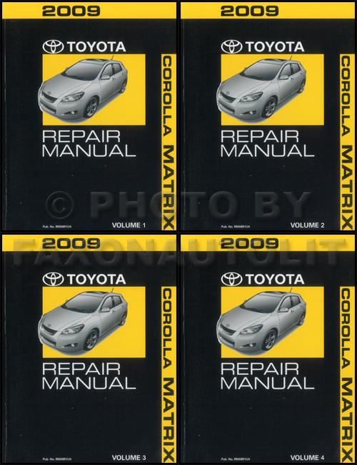 2009 Toyota Matrix Repair Shop Manual 4-Volume Set