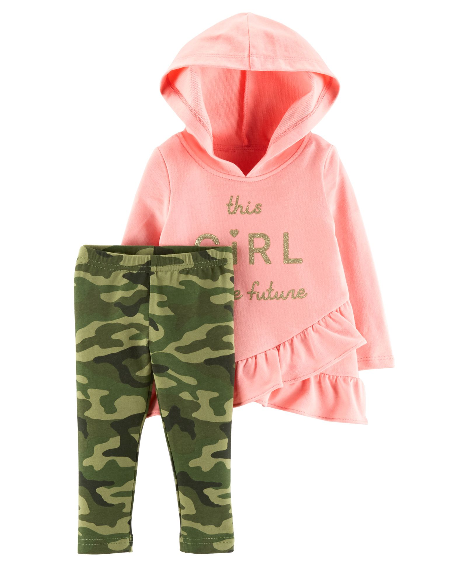 Camo Hoodie India Buy Carters 2piece French Terry Hoodie Camo Legging Set Pink Green For Girls 9 12 Months Online In India Shop At Firstcry 1917600
