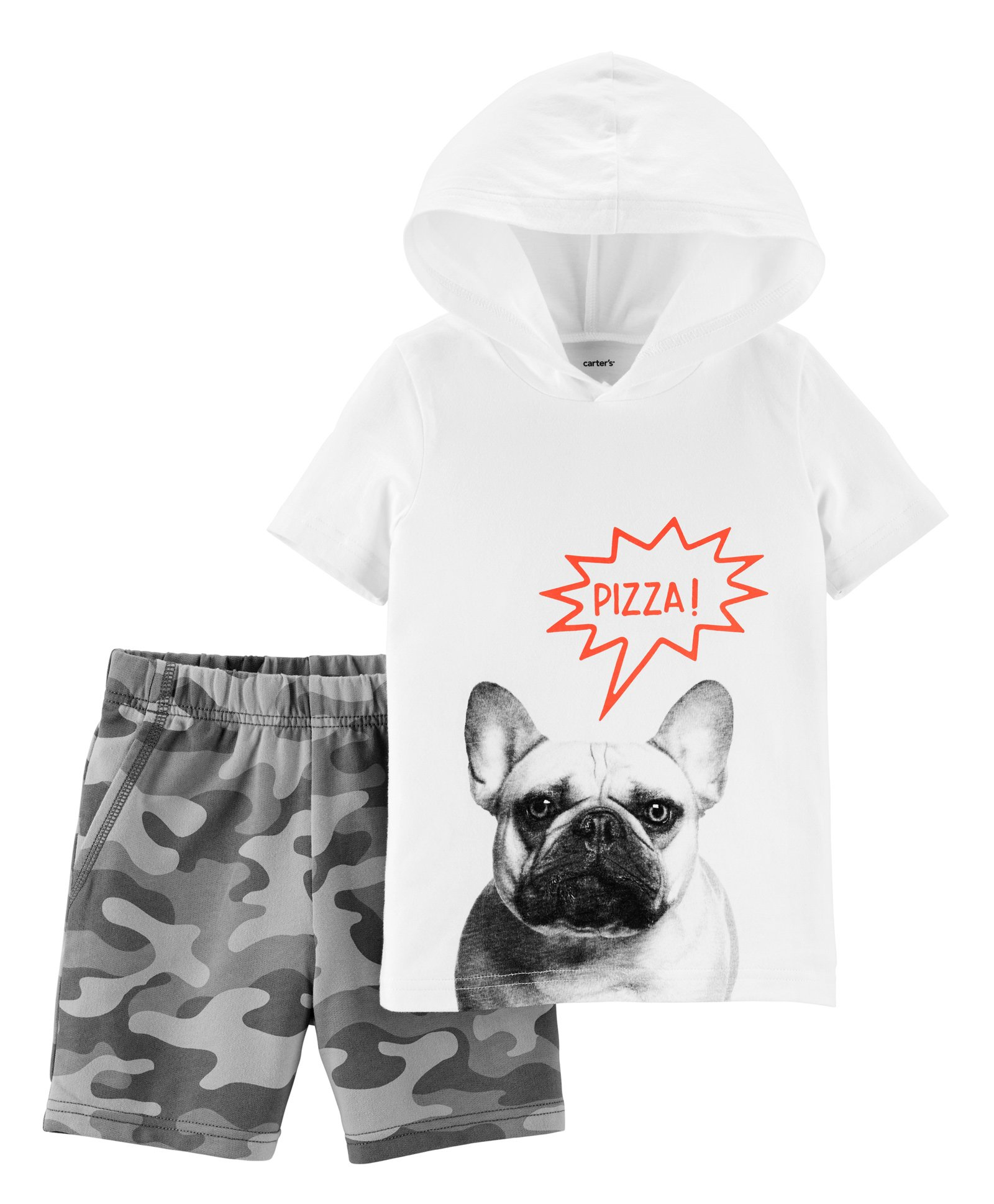 Camo Hoodie India Buy Carters 2 Piece French Bulldog Hoodie Camo Short Set White For Boys 3 6 Months Online In India Shop At Firstcry 2196738