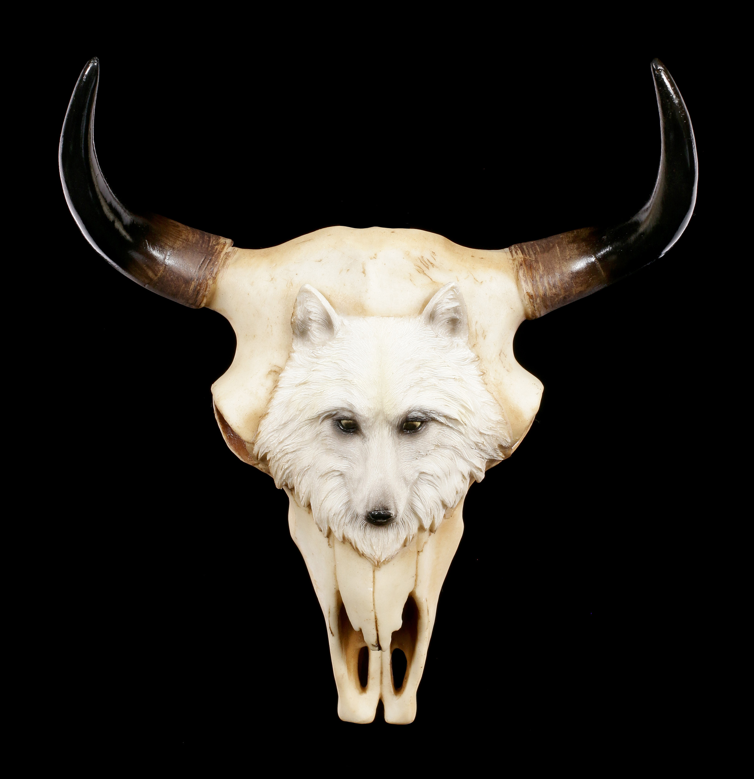 Figuren Shop 24 Bull Skull With Wolf Native Spirit