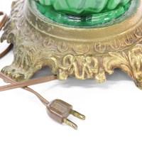 Brass & Green Glass Vase Decorative Lamp   Loveseat ...