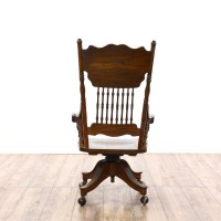 Victorian Oak Press Back Rolling Desk Chair | Loveseat ...