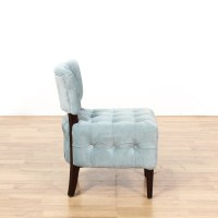 Blue Shabby Chic Tufted Armless Accent Chair | Loveseat ...