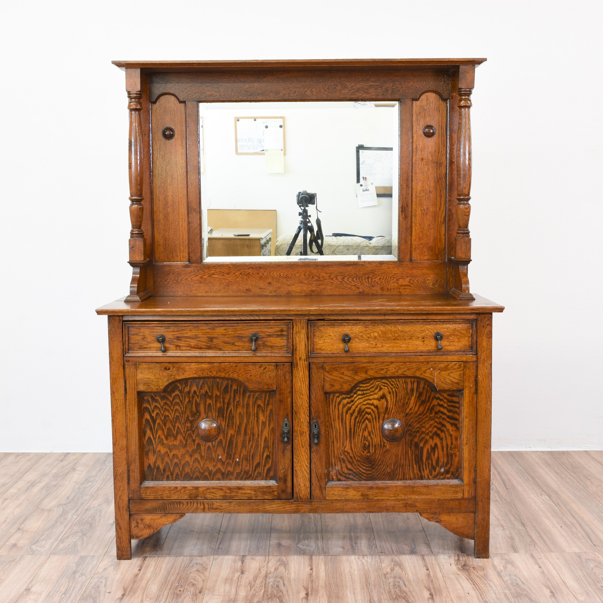 Vintage Oak Sideboard With Mirror Antique Oak Sideboard Buffet W Mirror Loveseat Vintage