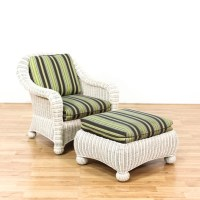 White Wicker Striped Arm Chair & Ottoman | Loveseat ...