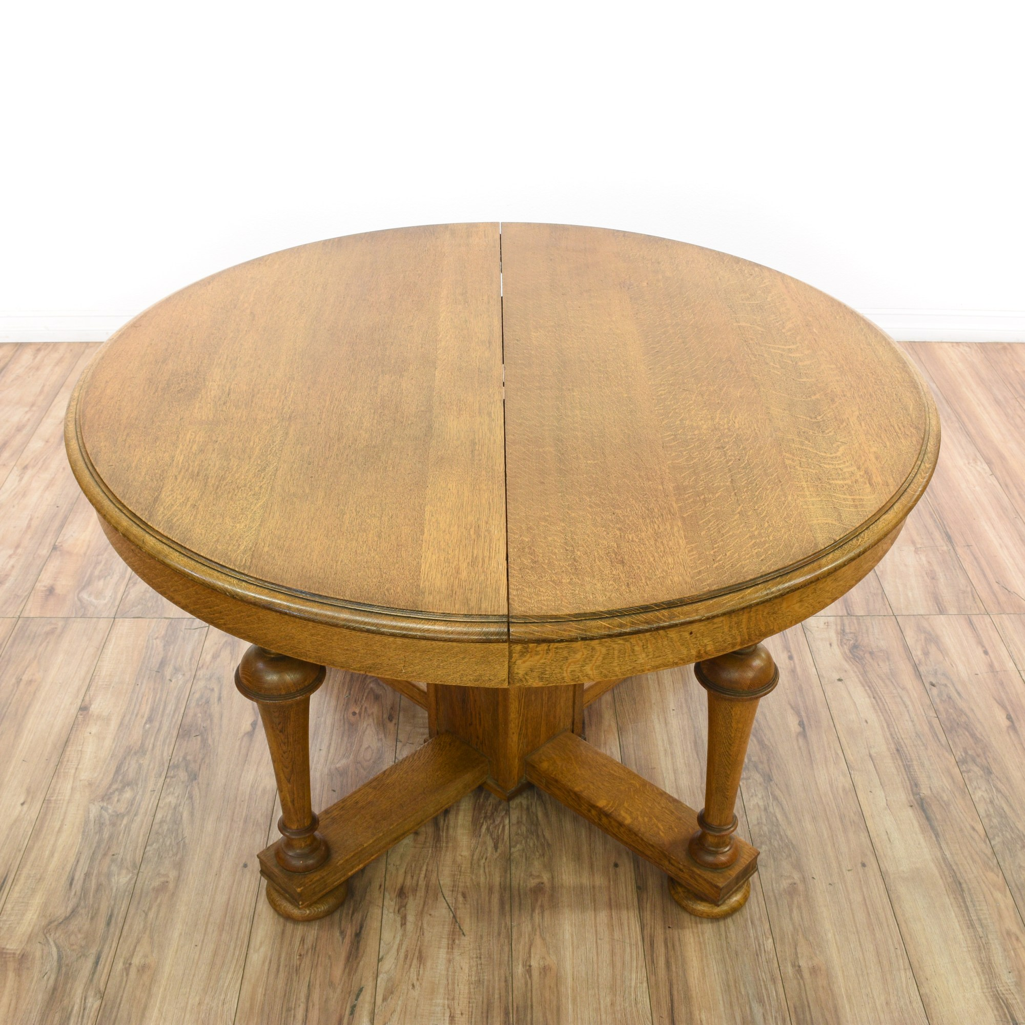 Circle Round Farmhouse Dining Table Round Turned Quarter Sawn Oak Dining Table Loveseat