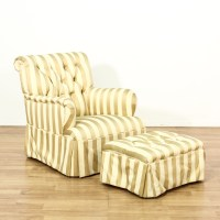 Striped Upholstered Chair & Ottoman | Loveseat Vintage ...