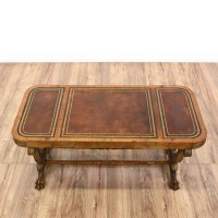 Carved Wood Leather Top Coffee Table | Loveseat Vintage ...
