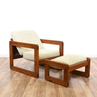 Wood Square Frame Accent Chair & Ottoman | Loveseat ...